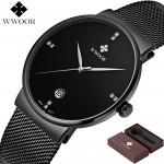 Relógio de Pulso Wwoor 8018 Preto Masculino Ultra Fino Japonês Luxuoso