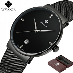301a69f6a9d Relógio de Pulso Wwoor 8018 Preto Masculino Ultra Fino Japonês Luxuoso