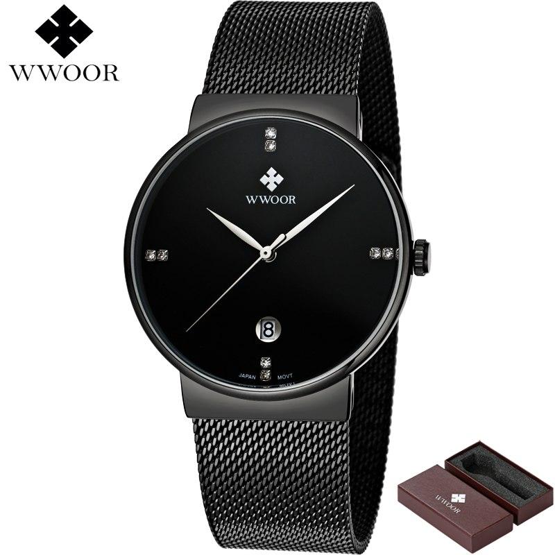 0bfe462fedc ... Relógio de Pulso Wwoor 8018 Preto Masculino Ultra Fino Japonês Luxuoso  ...