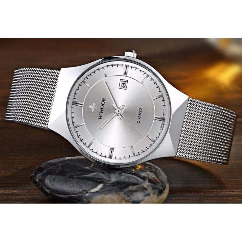b2680034932 ... Relógio de Pulso Wwoor 8016 Prateado Masculino Ultra Fino Japonês  Luxuoso ...