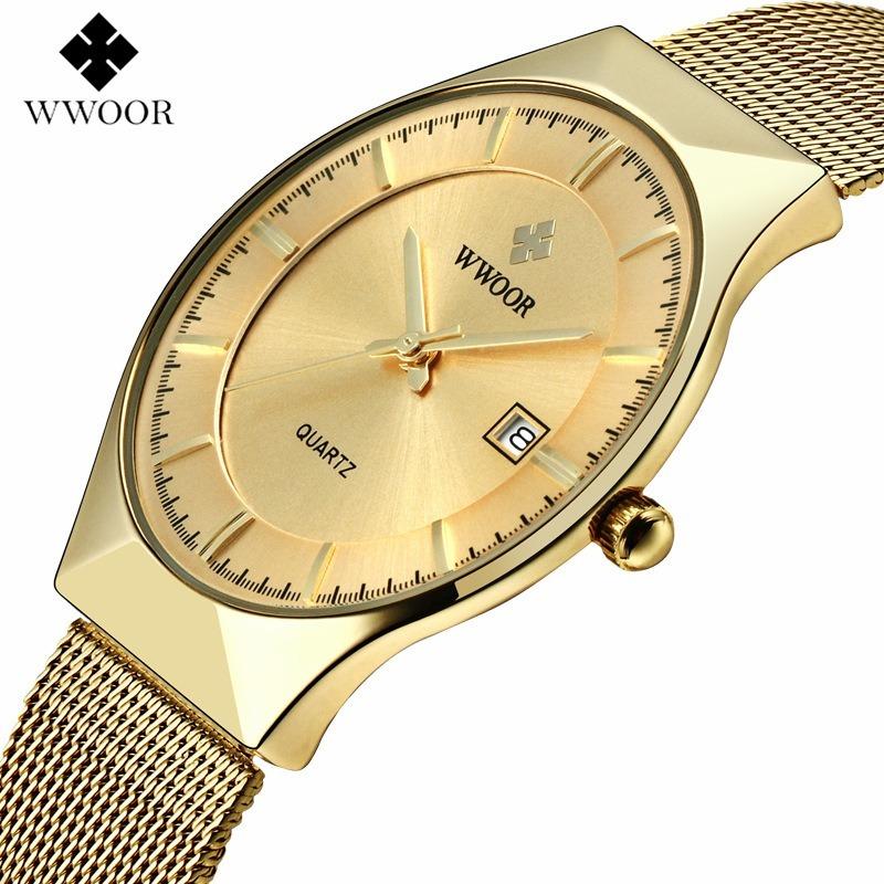 6388e995976 ... Relógio de Pulso Wwoor 8016 dourado Masculino Ultra Fino Japonês Luxuoso