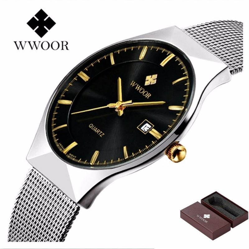 4ea154955c1 Novidade -43% Relógio de Pulso Wwoor 8016 Preto Masculino Ultra Fino  Japonês Luxuoso