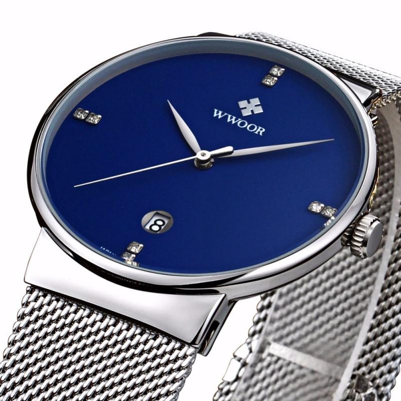 b76fee6ba5d ... Relógio de Pulso Wwoor 8018 Azul Masculino Ultra Fino Japonês Luxuoso  ...