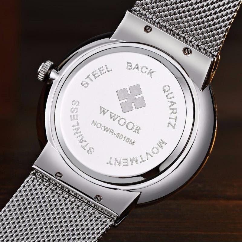 23a0fbbb727 ... Relógio de Pulso Wwoor 8018 Azul Masculino Ultra Fino Japonês Luxuoso