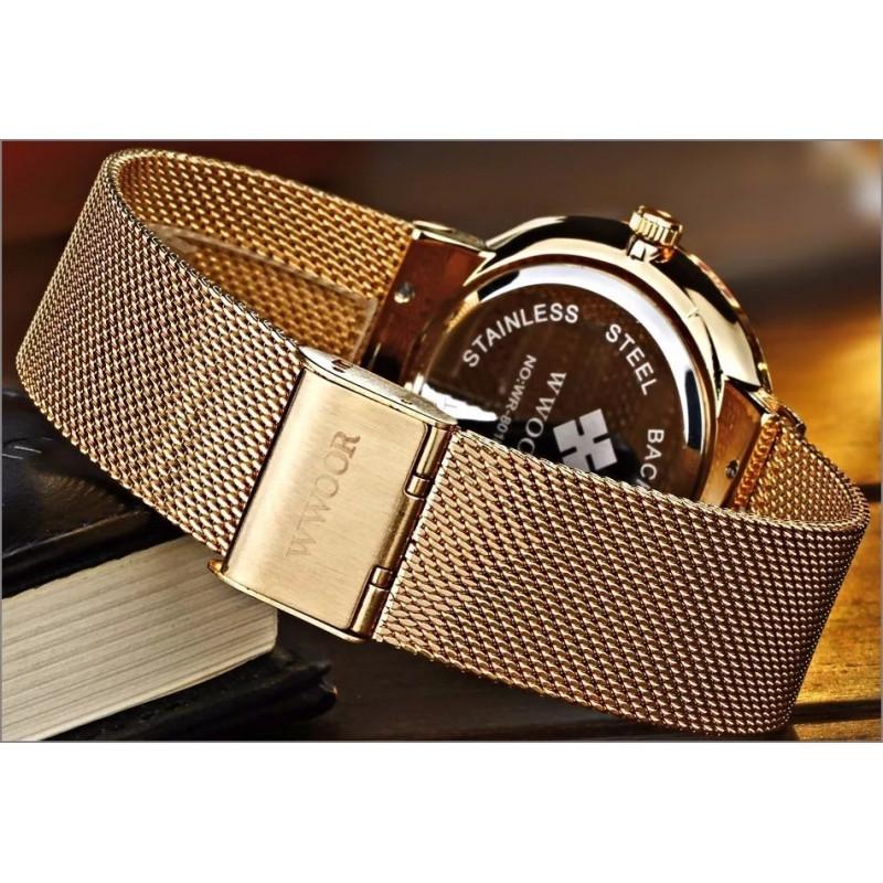 e24f5e57637 ... Relógio de Pulso Wwoor 8018 Dourado Masculino Ultra Fino Japonês Luxuoso  ...