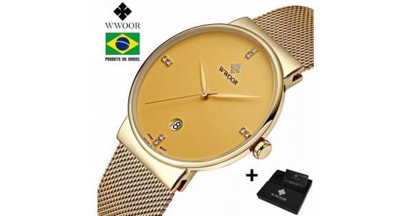61967e46be3 Belíssimo relógio 8018 dourado ouro importado da marca japonesa wwoor quartz